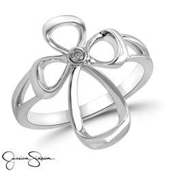 Jessica Simpson Sterling Silver .02 TDW Diamond Cross Ring (IJ-I2-I3)