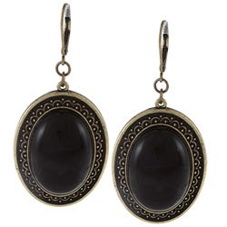 Alexa Starr Goldtone Black Lucite Oval Earrings