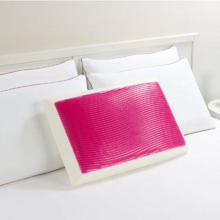 Comfort Memories Pink Wave Memory Foam and Gel Bed Pillow