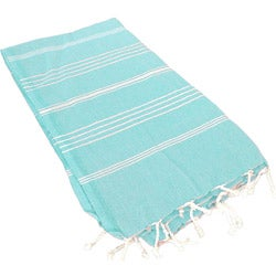 100-percent Turkish Cotton Striped Aqua Woven Coral Fouta Bath/ Beach Towel