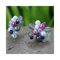 Sterling Silver 'Flor' Multi-gemstone Pearl Earrings (5 mm) (Thailand)