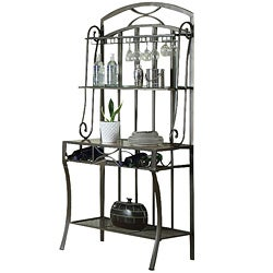 Acme Black Faux Marble Top Baker's Rack