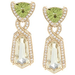 14k Gold Peridot, Lemon Quartz and 3/4ct TDW Diamond Earrings (G-H, I1-I2)