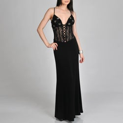 Janine of London Women's Sheer Lace-up Corset Long Dress
