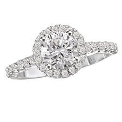 14k White Gold CZ and 3/8ct TDW Diamond Engagement Ring (GH, SI1-SI2)