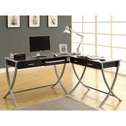Hollow-core Cappuccino 3-piece Corner Desk