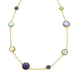 Eternally Haute Handmade 18-karat Gold over Sterling Silver Multi-gemstone Necklace