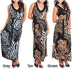 Stanzino Women's Plus Animal Print Maxi Dress
