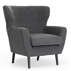 Moretti Dark Grey Linen Modern Club Chair
