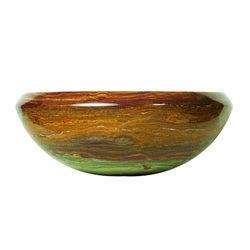Round Gold Onyx Stone Tapered Rim Vessel