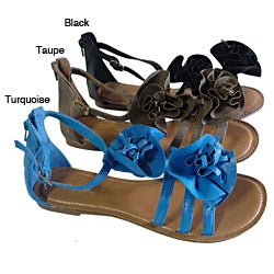 I-Comfort Women&#39;s Ruffle Flower Sandal