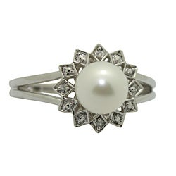 Sterling Diamond and Fresh Water Pearl Silver Ring (I1-I2, IJ)
