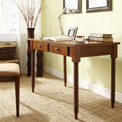 ETHAN HOME Clare Mahagony Helix Legs 2-drawer Office Writing Desk