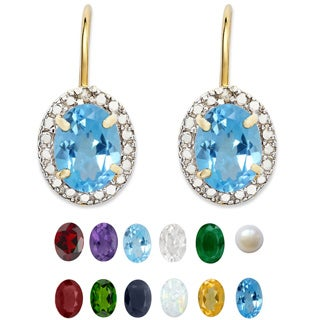 Dolce Giavonna Gold Overlay Birthstone Earrings