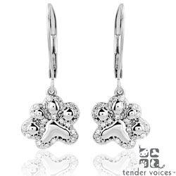 ASPCA Silver 1/6ct TDW Diamond 'Tender Voices' Paw Earrings (I-J, I2-I3)