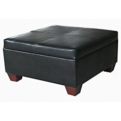 Black Leather Square Storage Bench Ottoman Coffee Table