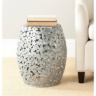 Safavieh Steelworks Floral Silver Iron Stool