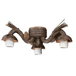 Three Light Old World Leather Ceiling Fan Light Kit