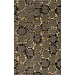 Soho Triple Circles Power-Loomed Grey Wool Rug (9'6 x 13'6)