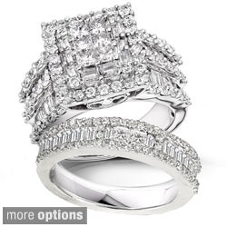 14k Gold 2 4/5ct TDW Diamond Halo Bridal Ring Set