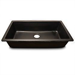 Highpoint Collection Single Bowl Granite Composite Undermount Kitchen Sink in Black