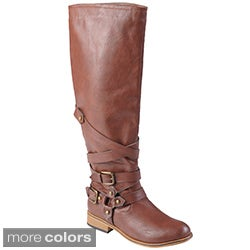 Journee Collection Women's 'Joy' Buckle Detail Round Toe Tall Boots