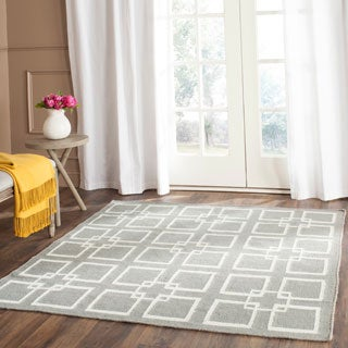 Martha Stewart Square Dance Cement Grey Wool/ Banana Silk Rug