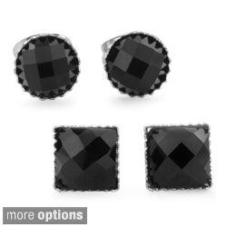 West Coast Jewelry Stainless Steel Black Onyx Earrings