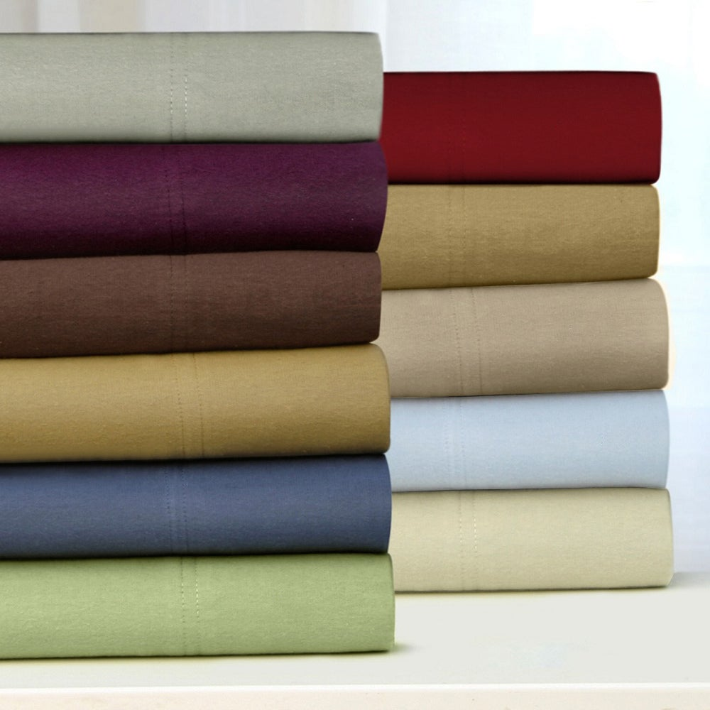 Tribeca Living Luxury Solid Flannel Sheet and Pillowcase Separates