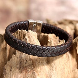 Sterling Silver Men's 'Masculine' Leather Bracelet (Indonesia)