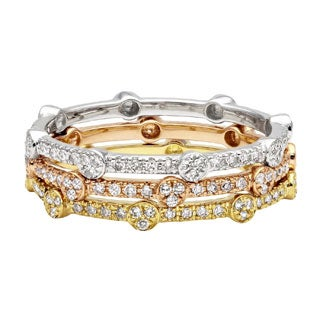 Beverly Hills Charm 10k Gold Round or Square Stackable Thin Diamond Ring (H-I, I2)