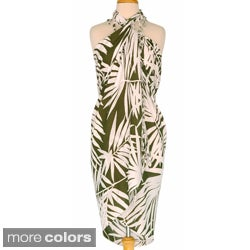 White and Dark Green Hawaiian Style Floral Wrap Sarong
