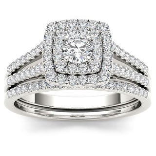 De Couer 10k White Gold 3/4ct TDW Diamond Double Halo Engagement Ring Set (H-I, I2)
