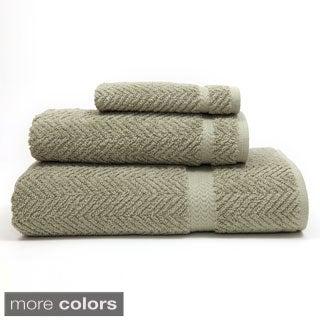 Authentic Herringbone Weave Hotel and Spa Turkish Cotton 3-piece Towel Set