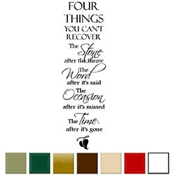 'Four Things You Can't Recover.....' Vinyl Wall Quote Art Decal