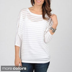 Grace Elements Women's Dolman Sleeve Sheer Striped Top