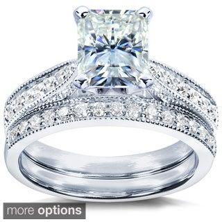 Annello 14k Gold Radiant Moissanite and 1/3ct TDW Diamond Bridal Ring Set (G-H, I1-I2)