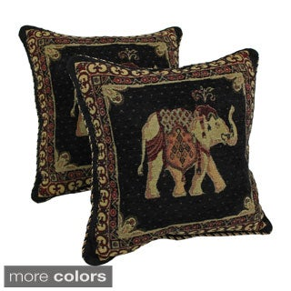 Blazing Needles Tapestry Corded Exotic Elephants Throw Pillows (Set of 2)