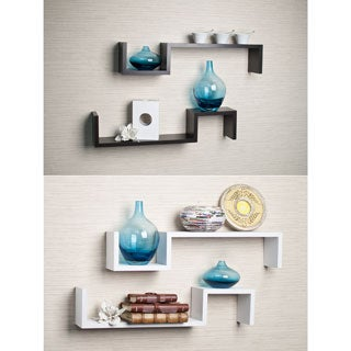 Laminated Espresso 'S' Wall Mount Shelves (Set of 2)