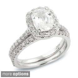 14k Gold 1ct TDW Cushion Diamond Halo Bridal Ring Set (H-I, SI1-SI2)