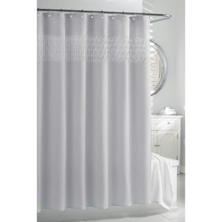 Silver Smocked Pleats Shower Curtain