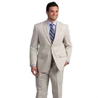 Adolfo Men's Tan Mini Pinfeather Suit