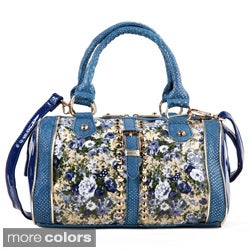 Nicole Lee 'Florence' Floral Patent/ Faux Python Boston Bag