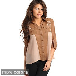Stanzino Women's Two-tone Keyhole Back Button-down Shirt