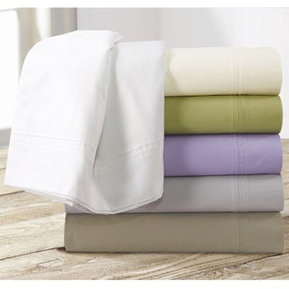 Egyptian Cotton Percale 350 Thread Count Deep Pocket Sheet Set with Oversize Flat