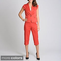 Sharagano Suits Women's Stretch Capri Suit Set