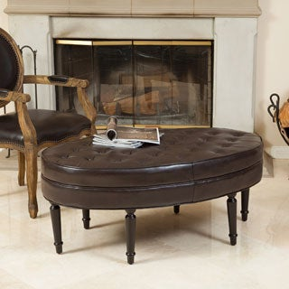 Christopher Knight Home Fielding Brown Bonded Leather Oval Ottoman