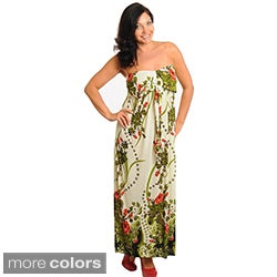 Stanzino Women's Strapless Plus Floral Maxi Dress