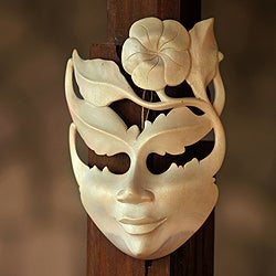 Handcrafted Hibiscus Wood 'Frangipani Summer' Mask (Indonesia)