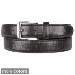 Boston Traveler Men's Croc Print Leather Belt